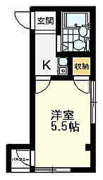 クレスト恋ヶ窪 2階1Kの間取り
