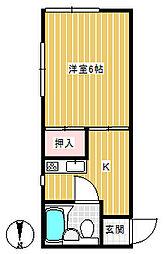 鶴巻壱番館[201号室]の間取り