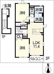 コスモス 2階2LDKの間取り