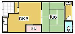 堂山谷口住宅[15号室]の間取り
