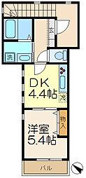 神奈川県横浜市南区中島町3丁目の賃貸アパートの間取り