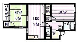 サンライズイナヤマB棟[2階]の間取り