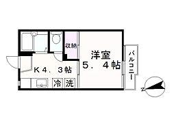 タウニー北松戸A[206号室]の間取り