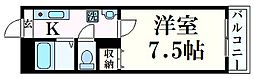 JR播但線 野里駅 徒歩35分の賃貸マンション 2階1Kの間取り
