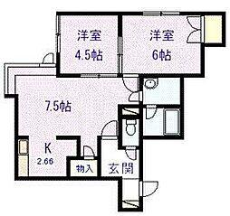 メゾン松田VI 2階2LDKの間取り