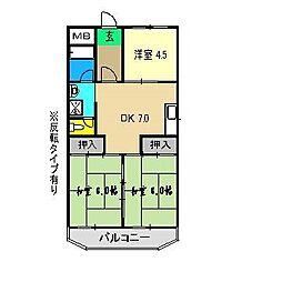 コーポ田中2号館[1階]の間取り