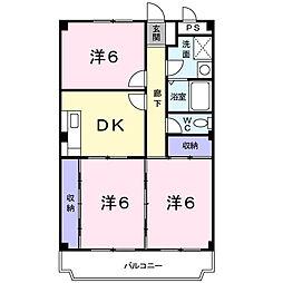 神奈川県海老名市河原口3丁目の賃貸マンションの間取り