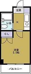 ソシオコート九条[2階]の間取り