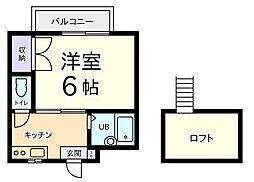 東京都国分寺市光町2丁目の賃貸アパートの間取り
