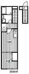 東京メトロ有楽町線 氷川台駅 徒歩8分の賃貸マンション 2階1DKの間取り