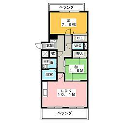 ドゥーブル檀渓[2階]の間取り