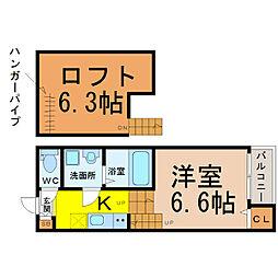 愛知県名古屋市熱田区古新町2の賃貸アパートの間取り