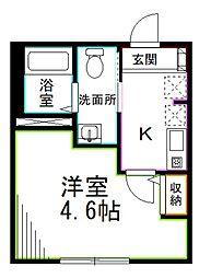 東京メトロ丸ノ内線 南阿佐ヶ谷駅 徒歩6分の賃貸マンション 2階1Kの間取り