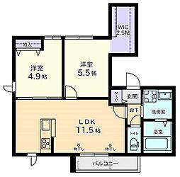 仮称 美好町2丁目Iマンション 2階2LDKの間取り