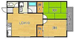 大阪府茨木市南春日丘3丁目の賃貸アパートの間取り