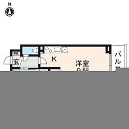 JR山陰本線 丹波口駅 徒歩10分の賃貸マンション 5階ワンルームの間取り