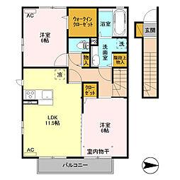 (仮)D-room高井町[206号室]の間取り