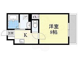 阪急千里線 豊津駅 徒歩5分の賃貸アパート 1階1Kの間取り