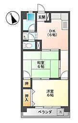 山田コーポラス[3階]の間取り