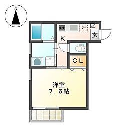 愛知県名古屋市北区上飯田南町5の賃貸アパートの間取り