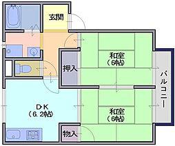 ツインハイムB[2階]の間取り