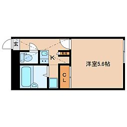 近鉄橿原線 筒井駅 徒歩14分の賃貸アパート 2階1Kの間取り
