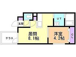 仮)豊平6-2MS 1階1LDKの間取り