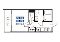 メルディア八広6丁目No.7 3階1Kの間取り