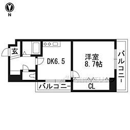 アマデウス麩屋町二条 6階1Kの間取り