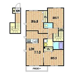 MIMOZA HOUSE  B[203号室]の間取り
