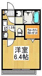 JR武蔵野線 東所沢駅 徒歩10分の賃貸アパート 2階1Kの間取り