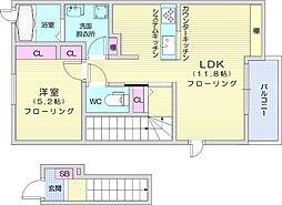 仙台市地下鉄東西線 八木山動物公園駅 徒歩21分の賃貸アパート 2階1LDKの間取り