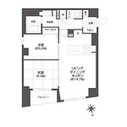 都営大江戸線 牛込柳町駅 徒歩3分の賃貸マンション 14階2LDKの間取り