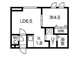 Larme N14(ラルムエヌ 14) 5階1DKの間取り