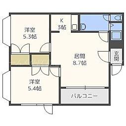 カレン札幌[2階]の間取り