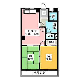 マンション北浦[2階]の間取り