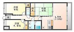 プラザハイツ二ツ屋B棟[3階]の間取り