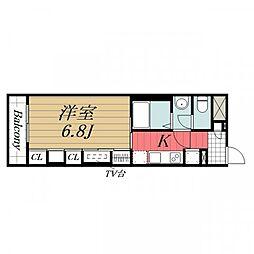 JR成田線 成田駅 徒歩13分の賃貸マンション 3階1Kの間取り