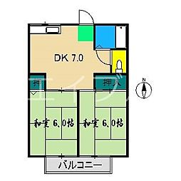 奥田アパート[2階]の間取り