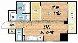 エステムコート北堀江 3階1DKの間取り
