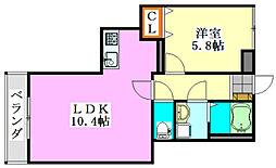 パークワンモア東船橋アネックス[2階]の間取り