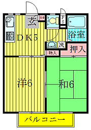 千葉県柏市東台本町の賃貸アパートの間取り