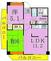 東京都足立区竹の塚2丁目の賃貸マンションの間取り