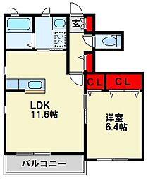 三洋タウン頃末南 A棟[1階]の間取り