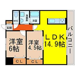 愛知県名古屋市中区大須1丁目の賃貸アパートの間取り