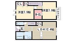 愛知県名古屋市守山区幸心2丁目の賃貸アパートの間取り