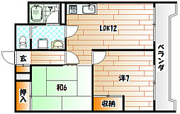ベルガ三萩野[9階]の間取り