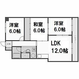 北海道札幌市西区西野二条8丁目の賃貸マンションの間取り