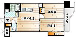ギャラン井堀[11階]の間取り