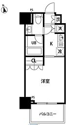 東京メトロ有楽町線 新富町駅 徒歩1分の賃貸マンション 8階1Kの間取り